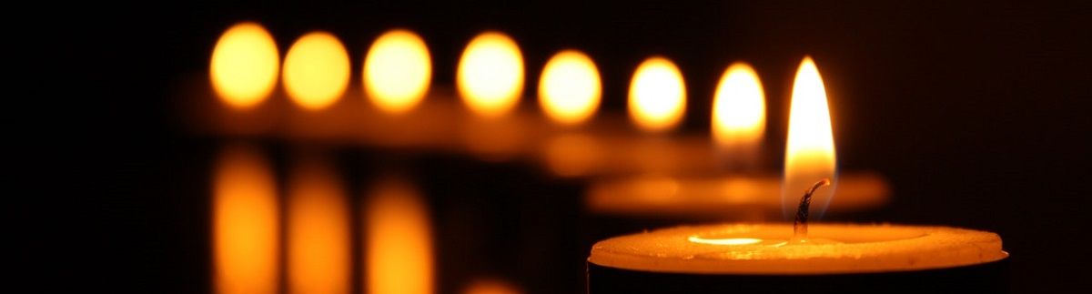 close up of a row of candle flames in a dark room