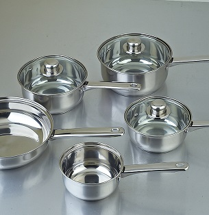 a selection of stainless steel pans