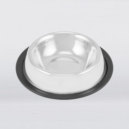 Silver dog bowl with a black rubber floor ring on a white background