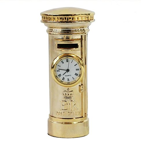 Novelty clock in the shape of a golden postbox
