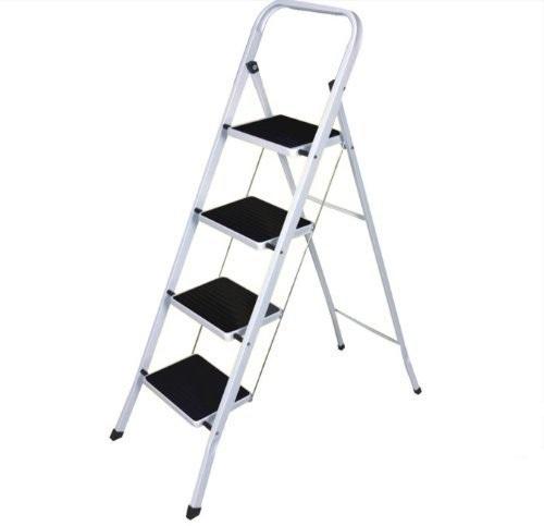 white step ladder with black non slip steps