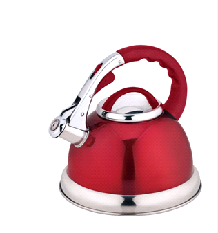 Red whistling kettle on a white background