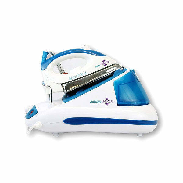 Blue and white electric iron on a blue and white charging station.