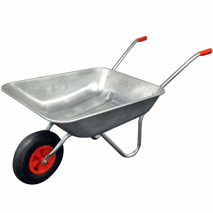 Silver coloured galvanised wheelbarrow with red handles and a red wheel