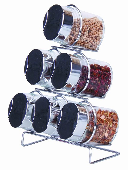 wholesale glass canister spice rack with glass jars with stainless steel lids