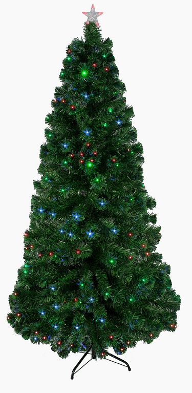 Christmas tree with built in lights on a white background