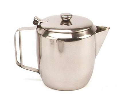 silver teapot on a white background